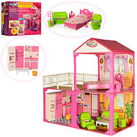 Домик для кукол 6982B  2 этажа,3 комнаты,мебель.