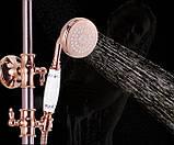 Душевая стойка со смесителем краном лейкой и верхнем душем розовое золото, фото 2