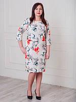 Очень красивое платье белого цвета в цветочный принт