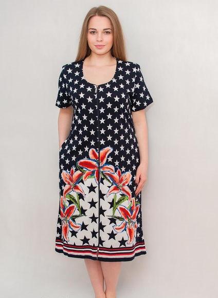 Жіночий літній халат середнього розміру Зірки