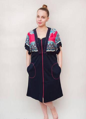 Женский летний халат среднего размера с узором на плечах, фото 2