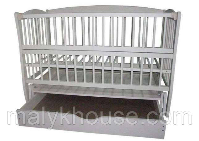 Ліжечко дитяче Дубок Еліт з маятниковим механізмом, опускним боком, ящиком закритого типу Колір білий, ваніль