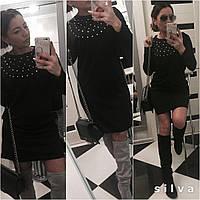 Платье женское чёрное с камнями UD01/01436