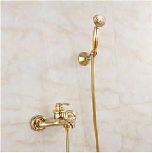 Смеситель золотой в ванную комнату с лейкой 0144