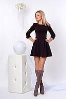 Короткое трикотажное платье сливового цвета