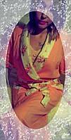 Халат женский льняной шалевый