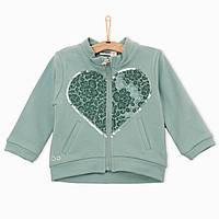 Спортивная кофта на молнии, на груди - большое сердце с пайетками и камнями, девочка, мятный 4Q338/00 iDO, Ита