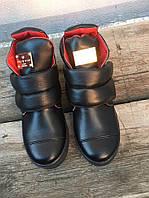 Крутые зимние женские ботинки на липучках кожаные, модная женская зимняя обувь