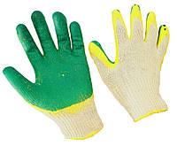 Перчатки рабочие х/б пена зеленый 12пар/уп