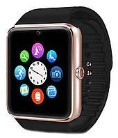 Умные часы Smart watch GT08 gold+black, золотистый корпус + черный браслет