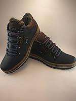 Ecco ботинки реплика из натуральной кожи на меху чёрный с коричневым (зима)