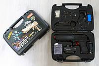 Пистолет с прицелом и гелиевыми пульками, аккум.в чемодане 30*20*7 см