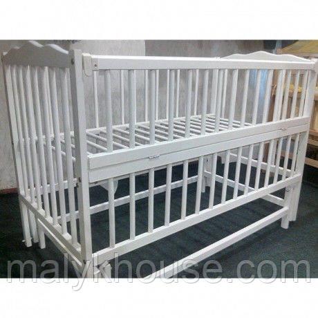 Ліжечко для новонароджених тм Дубок із знімним маятниковим механізмом (колір білий, ваніль)