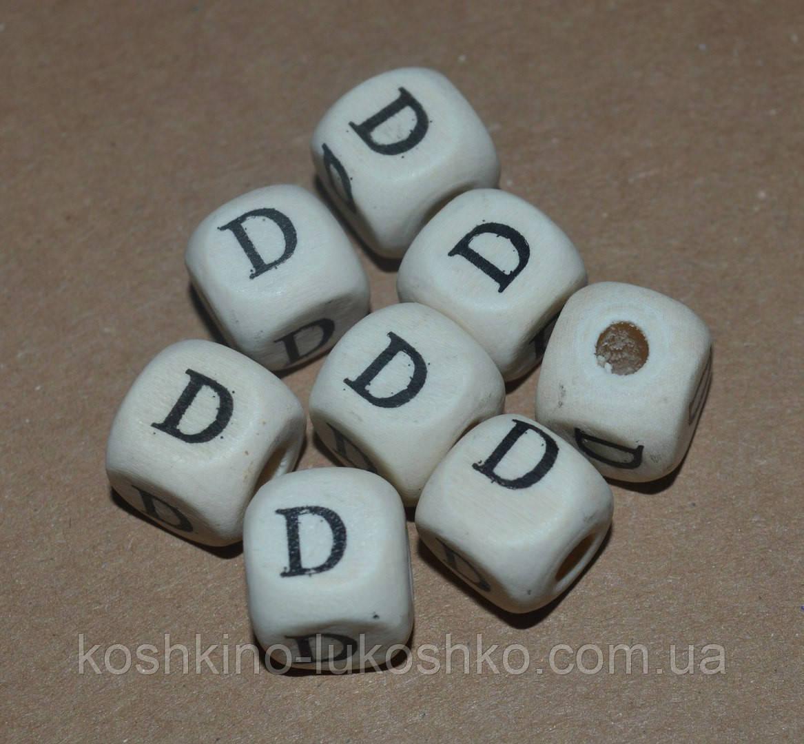 Бусина буква деревянная  D