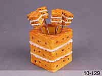 """Набор вилочек (шпажек) для канапе """"Торт"""" 6 шт на подставке 7Х7Х9,5 см 10-129"""