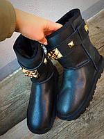Угги зимние женские кожаные черные 38 размер очень теплые с шипами