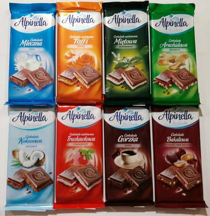 Шоколад Alpinella Toffi молочный тоффи 90гр. Польша, фото 2