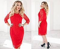 Красивое праздничное гипюровое платье ровного кроя красное