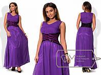 Красивое вечернее шифоновое платье в пол без рукавов батал фиолетовое