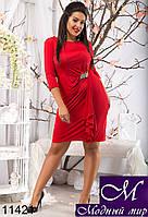 Женское красное вечернее платье батал (50, 52, 54, 56) арт. 11421