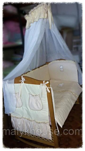 Спальный комплект для новорожденных с бадахином и навесным карманом Мишутка