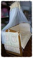 Спальный комплект для новорожденных с бадахином и навесным карманом Мишутка, фото 1