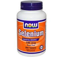 Селен, 100 мкг, 250 таблеток, без дрожжей, Now Foods