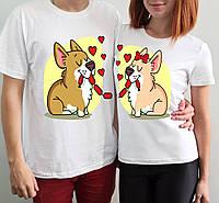 """Парные футболки """"Собаки с сосиской"""""""