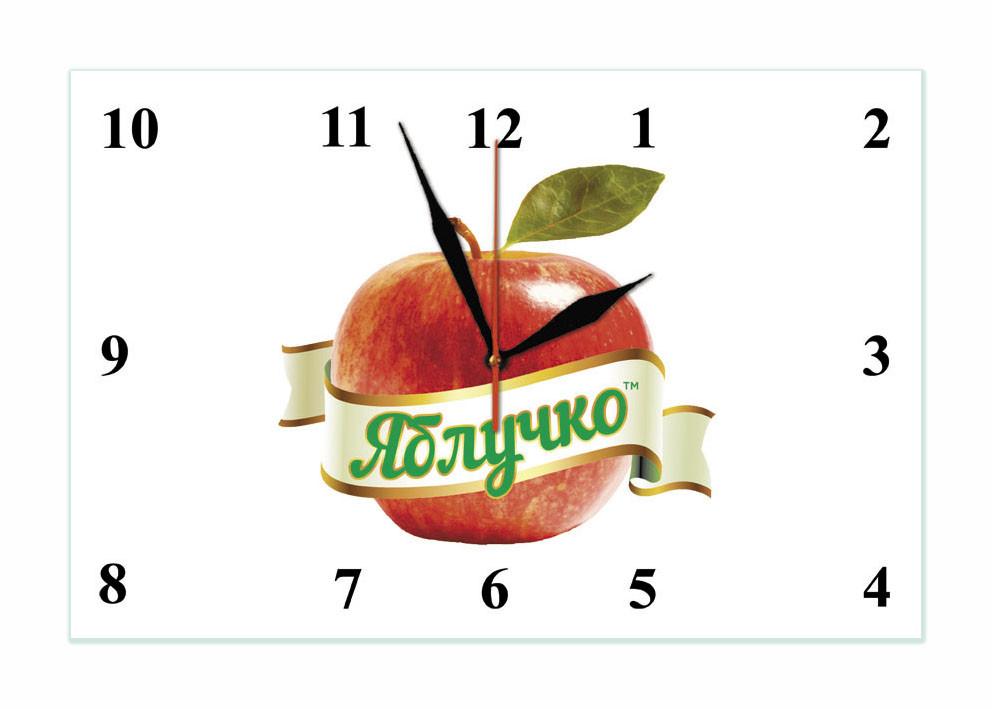 """Годинники настінні скляні """"Логотип"""""""