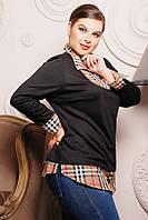 Оригинальная трикотажная блуза-рубашка Большие размеры