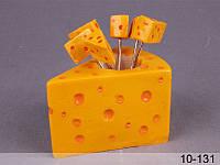 """Набор вилочек (шпажек) для канапе """"Сыр"""" 6 шт на подставке 9Х6Х10 см 10-131"""