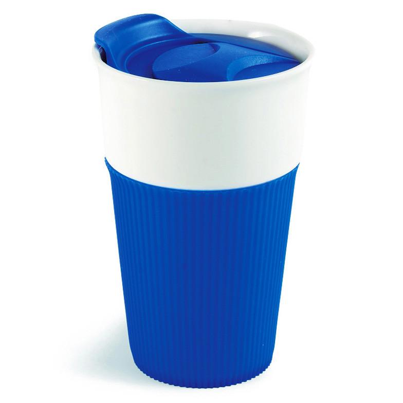 Термокружка Fila керамическая с силиконовой накладкой, 480 мл, синяя, от 10 шт, фото 1