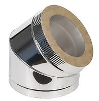 Термоизолированное сэндвич колено 45° н/н 0,6 мм ф125/200 (двустенный отвод 45°)