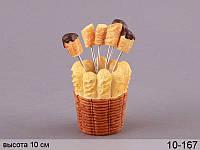 """Набор вилочек (шпажек) для канапе """"Пончик"""" 6 шт на подставке 7Х7Х10 см 10-167"""