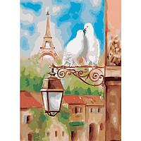 Картина по номерам на холсте Городской пейзаж Весна в Париже 40х50см КН2128