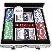 Набор для игры в покер в алюминиевом кейсе, 100 фишек