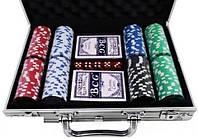 Набор для игры в покер в алюминиевом кейсе, 200 фишек