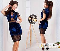 Вечернее бархатное платье с кружевом