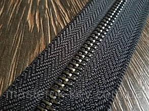 Молния металлическая №8 темный-никель на черной основе 332 Италия
