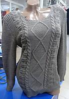 Женский красивый удлиненный свитер цвет бежевый