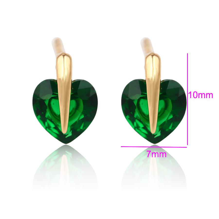Серьги гвоздики, Зеленое Сердце с циркония, позолота