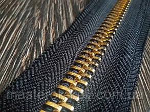 Молния металлическая рулонная №10 золото на черной основе 332 Италия