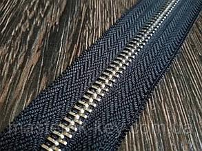 Молния металлическая рулонная №10 никель на черной основе 332 Италия