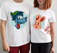 """Парные футболки """"Ну погоди волк\заяц"""""""
