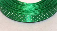 Лента атласная 931 Зелёная в белый горошек 15 мм