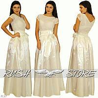 Красивое атласное платье с гипюром