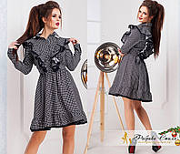 Коттоновое женское платье с черным кружевом