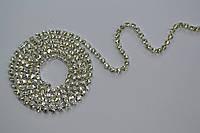 Стразовая цепь Preciosa (Чехия) Crystal/серебро