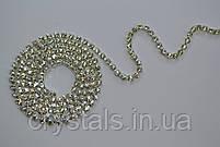 Стразовая цепь Preciosa (Чехия) ss6.5 Crystal/серебро