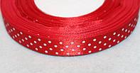 Лента атласная 932 Красная в белый горошек 15 мм